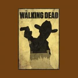 tee shirt walking dead rick poster marron