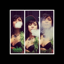 Tee shirt ganja girl noir