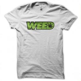 tee shirt weed ganja blanc