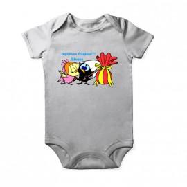 Body calimero à pâque pour bébé Baby Blanc Courtes