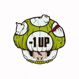 Tee shirt 1 up extra zombie life parodie nintendo blanc