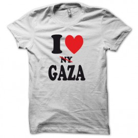 Tee shirt I love gaza ny barré version basic blanc mixtes tous ages
