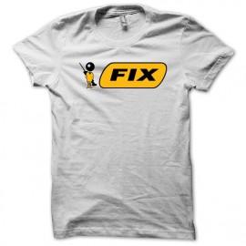 Tee shirt stylo bic parodie FIX junkie blanc mixtes tous ages
