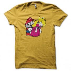 Tee shirt Mario bros fuck princess peach parodie nintendo jaune