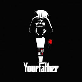 Tee shirt Star Wars Dark Vador parodie le parrain your father blanc/noir