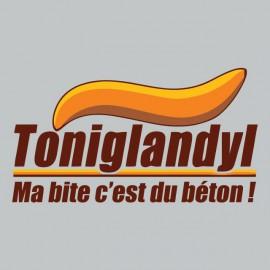 Tee shirt  Les Nuls Toniglandyl ma bite c'est du béton gris