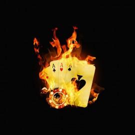 Tee shirt Poker burning game noir