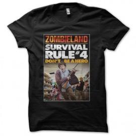 Tee shirt survival rule zombieland don't be a hero noir mixtes tous ages