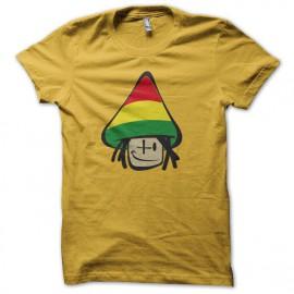 Tee shirt champignon rasta funny jaune mixtes tous ages