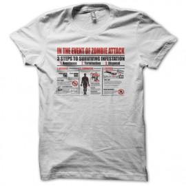 Tee shirt attaque zombis plan blanc mixtes tous ages