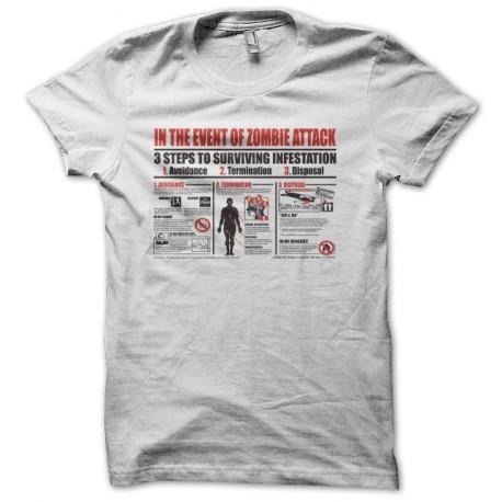 Tee shirt attaque zombis plan blanc