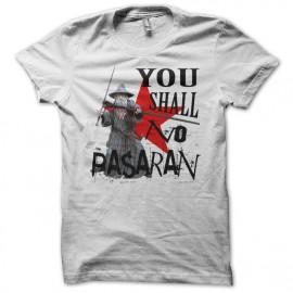 Tee shirt Gandalf parodie No Pasaran blanc mixtes tous ages