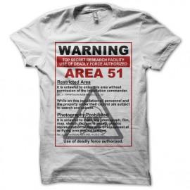 Tee shirt  Area 51 warning blanc mixtes tous ages