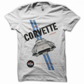 Tee shirt corvette by chevrolet vintage rare blanc mixtes tous ages