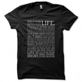 Tee shirt this is your life noir mixtes tous ages