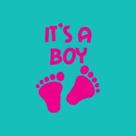 Tee shirt Baby footprint It's a Boy bleu turquoise