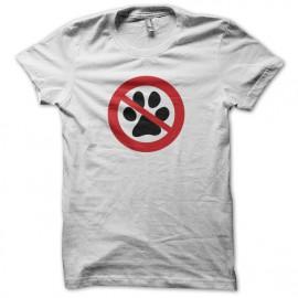 Tee shirt anti Chien empreinte interdit blanc mixtes tous ages
