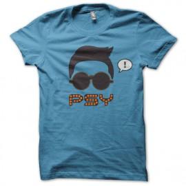 Tee shirt gangnam style psy gentleman gentle man bleu/noir