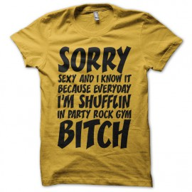 Tee shirt LMFAO Sorry Party Bitch jaune