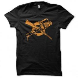 Tee shirt Zombie Fusil à pompe ou tronçonneuse noir mixtes tous ages