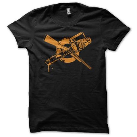 Tee shirt Zombie Fusil à pompe ou tronçonneuse noir