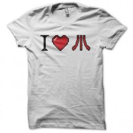 Tee shirt I love Atari pixel art blanc