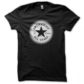 Tee shirt Antifascist No Pasaran All Stars parodie Converse noir mixtes tous ages