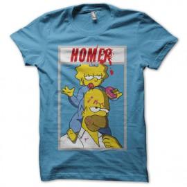 Tee shirt Dexter parodie Homer Simpson turquoise