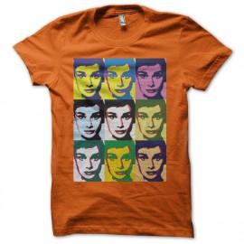 Tee shirt Audrey Hepburn pop art orange mixtes tous ages