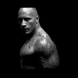 Tee shirt Dwayne Johnson photo en trame noir