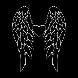 Tee Shirt Angel Wings Black