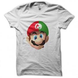 tee shirt logo mario luigi façon daft punk blanc