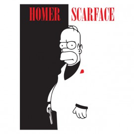 tee shirt homer simpson parodie scarface noir