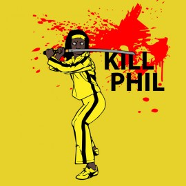 tee shirt michonne kill phil parodie kill bill jaune