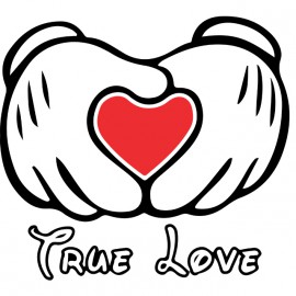 Tee shirt Mickey et L'amour en blanc