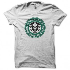 tee shirt Starbuck fresh roasted cylon blanc