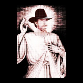 tee shirt chuck norris jesus noir
