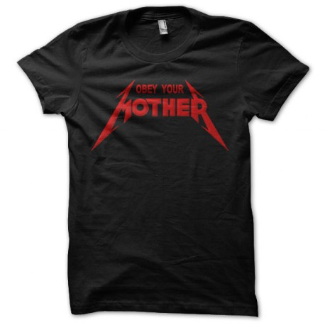 Tee Shirt Obey Your Mother Red on Black