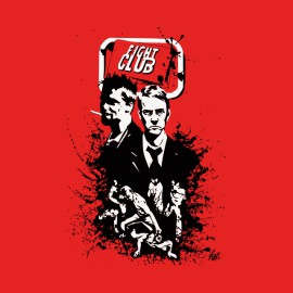 tee shirt fight club affiche personnages rouge