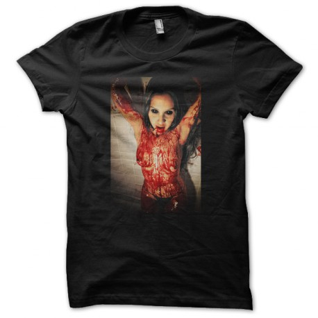 tee shirt zombie blood Black