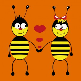tee shirt Bee Love orange