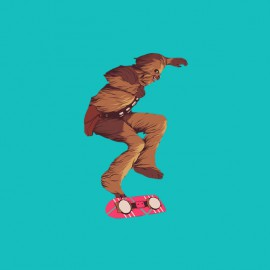 tee shirt chewbacca skateboard de marty mcfly bleu ciel