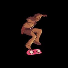 tee shirt chewbacca skateboard de marty mcfly noir