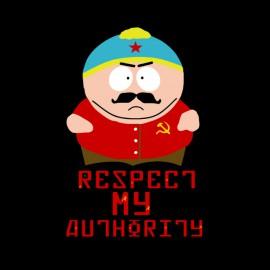 tee shirt eric cartman respect my authority version communiste noir