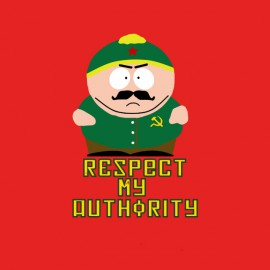 tee shirt eric cartman respect my authority version communiste rouge