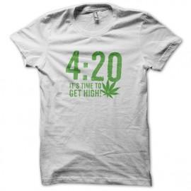 Tee Shirt 420 cannabis weed Blanc