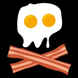 Tee Shirt Pirate Oeuf Bacon skull Noir