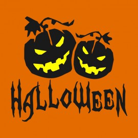 Tee Shirt Halloween Black on Orange