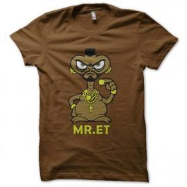 tee shirt E.T l'extra terresrtre parodie mister T marron