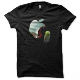 tee shirt apple eating android black